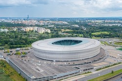 Wroclaw Stadium from a height, View from a drone to the city of Wrocdaw, Poland