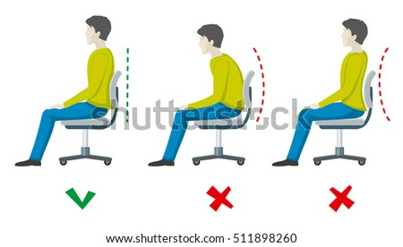 Wrong and right spine sitting posture. office health flat infographics. Body incorrect and correct, person sit correct or incorrect illustration