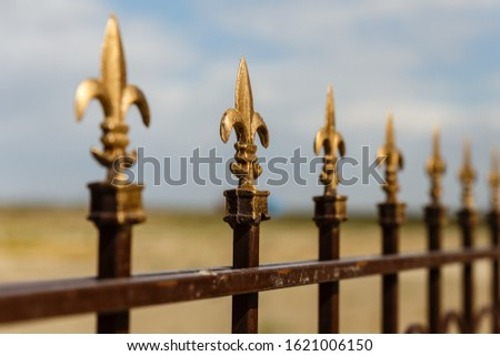 Wrought iron fence with decorative arrows, Decorative fence.