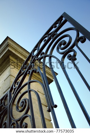 Wrought iron gate at the entrance to a chateau near Bordeaux