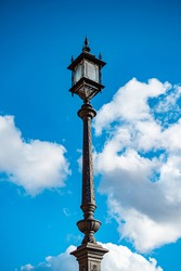 wrought iron lamppost and in the background the sky