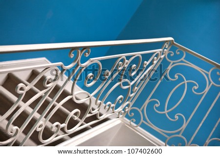 Wrought iron railing on a staircase