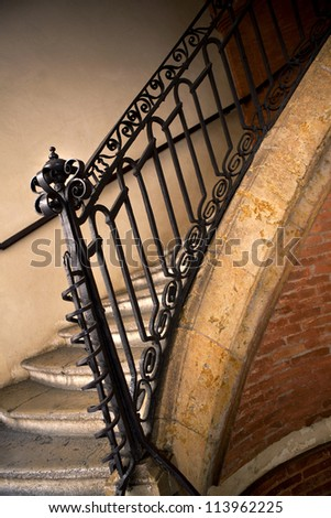 Wrought iron stairs in a mansion near Toulouse, France