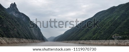 Wu Gorge on Yangtze river is one of the majestic Three Gorges in Hubei province in China. #1119070730