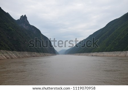 Wu Gorge on Yangtze river is one of the majestic Three Gorges in Hubei province in China. #1119070958