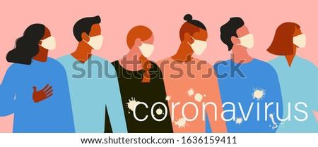Wuhan Novel coronavirus 2019 nCoV, women and men with medical face mask. Concept of coronavirus quarantine. The virus is like blots illustration banner.