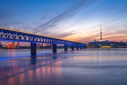 Wuhan yangtze river bridge at hubei province, China, it is the first yangtze river bridge.