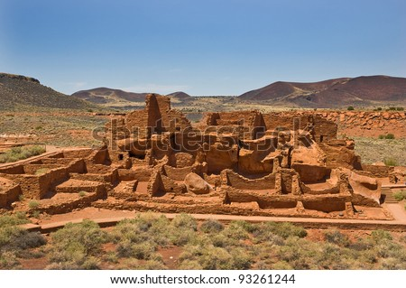 Wupatki National Monument in north central Arizona, ancient ruins of ancestral Native Americans, is managed by the National Park Service - stock photo