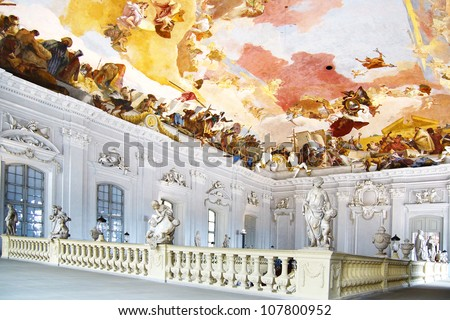 WURZBURG, GERMANY - JUNE 03: Main staircase in Wurzburger Residenze.  June 03, 2012 Wurzburg, Germany  In Baroque style, the staircase gained importance as part of a formal reception room.
