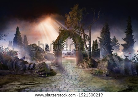 Wuthering heights, dark, atmospheric landscape with archway and fir trees, sunbeams after thunderstorm