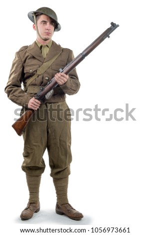 WW1 British Army Soldier from France 1918, isolated on white background #1056973661