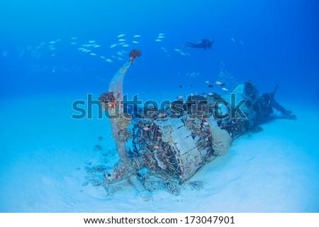 WW2 era Corsair airplane wreck and diver background.  - stock photo