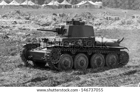 WW2 German Panzer 38 (t) light tank in the summer (black and white)