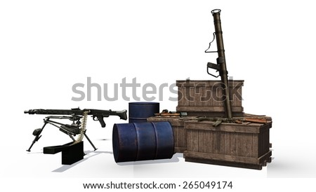 WW2 weapons arsenal boxes, machine gun hand grenade seperated on white background