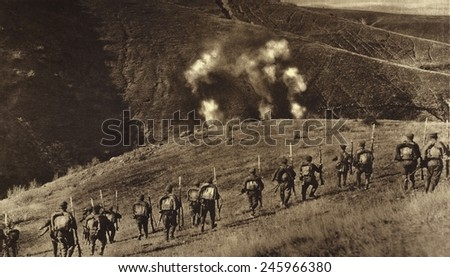 WWI. Bulgarians advancing in counter attack against a heavy barrage laid down by the Serbia Artillery. Ca. 1915-18.