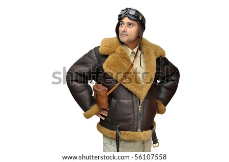 WWII fighter pilot isolated in white
