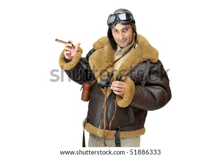WWII fighter pilot with cigar isolated in white