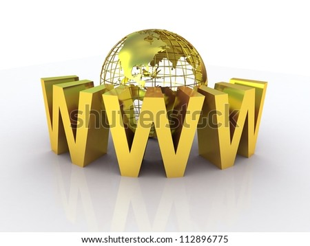 WWW and globe gold, 3D images