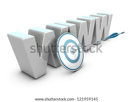 WWW 3D letters over white background with a target and one arrow hitting the center