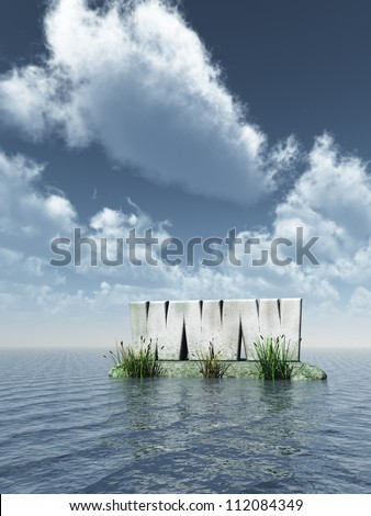 www monument at the ocean - 3d illustration