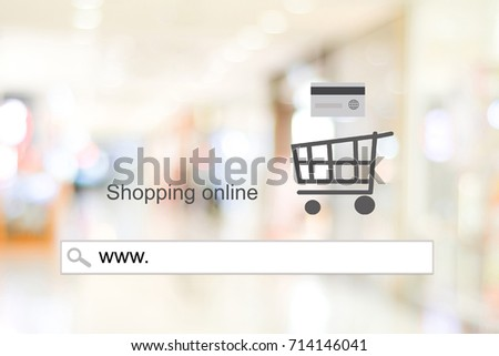 www. on address bar over blur store with bokeh background, web banner, online shopping background, business and technology, E-commerce, digital marketing #714146041