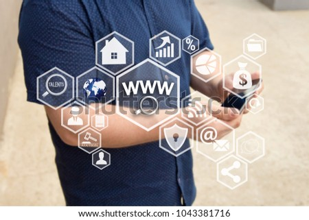 WWW online searches button  on the touch screen with a blur background of the businessman with the phone.The concept of WWW online searches  #1043381716
