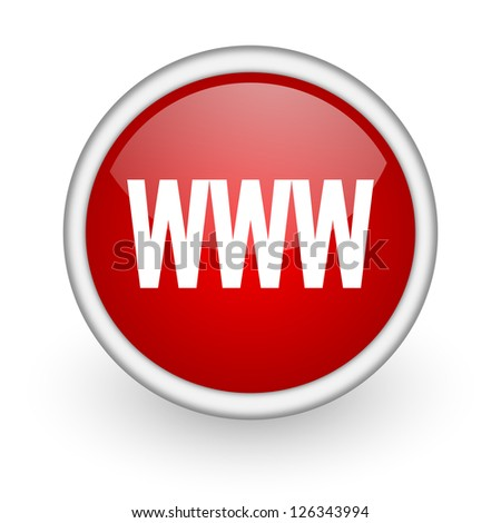 www red circle web icon on white background