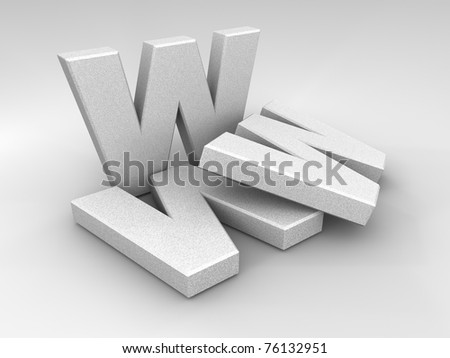 WWW stone letters on a shaded background, 3d render