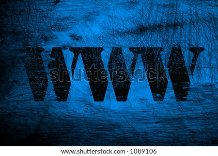 www world wide web on blue wood scratched background #1089106