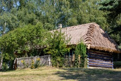 Wygiezlow, Poland - August 14, 2020: Wooden rural cottage from the 19th century in heritage park. Open-air museum Nadwislanski Ethnographic Park in Wygiezlow. Malopolska, Poland