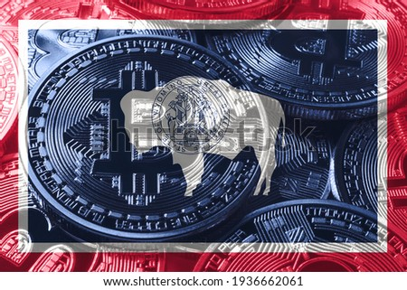Wyoming bitcoin flag, Wyoming cryptocurrency concept background ストックフォト ©