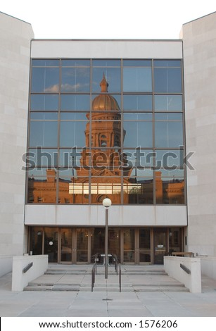 Wyoming Capitol Building Reflected in an Office Building