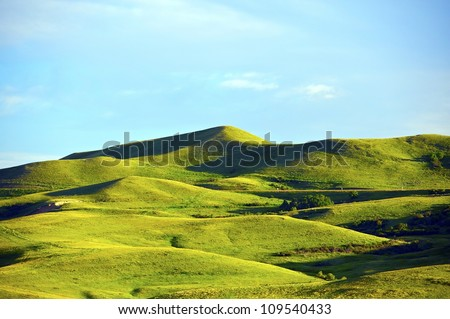 Wyoming Landscape. Green Hills of Wyoming, USA. Near Yellowstone National Park. Nature Photo Collection