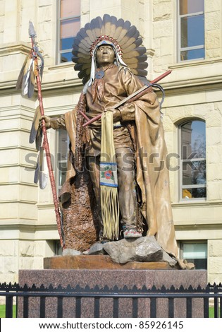 Wyoming State Capitol Building and statue of Chief Washakie, head of the Eastern Shoshones