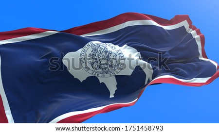 Wyoming - United States of America State - USA - 3D realistic waving flag background ストックフォト ©