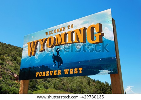 Wyoming welcome sign ストックフォト ©
