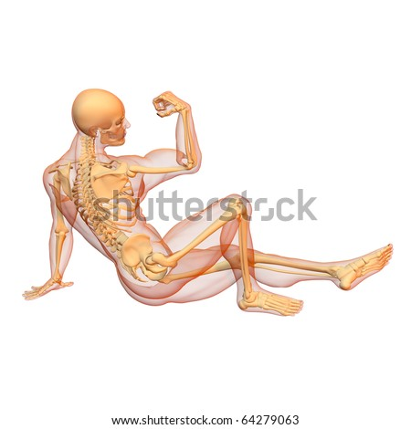 X-ray illustration of male human body and skeleton. 3D render. Sitting pose. Side view.