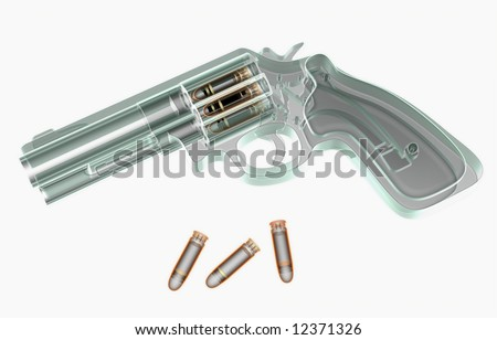 X-ray image of a pistol, isolated on white background. Computer generated.