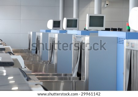 X-ray machine at the airport check-in counter
