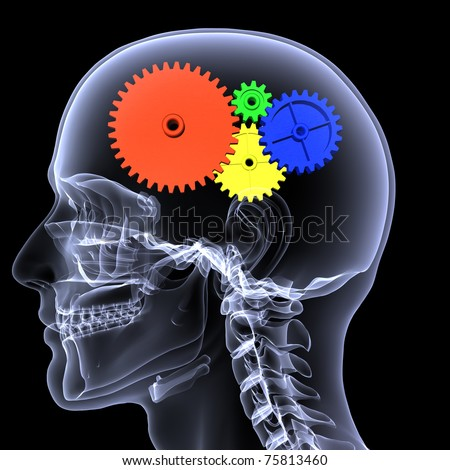 X-Ray of a male skeleton with a series of colored gears in his head for the concept of thought. Isolated on a black background