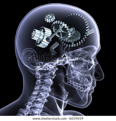 X-Ray of a male skeleton with a series of gears and other parts in his head coming apart. Isolated on a black background