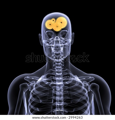 X-Ray of a male skeleton with a series of gears in his head for the concept of thought. Isolated on a black background