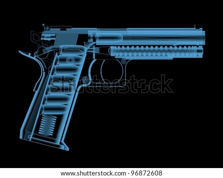 X-ray of a pistol with bullets. - stock photo