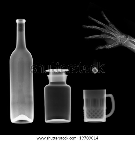 x-ray picture:bottle and mug,a hand throw a ice cube into the mug