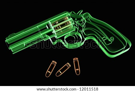 X-ray revolver and ammunition on black background - stock photo