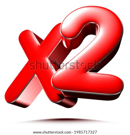 X2 red 3D illustration on white background with clipping path. Сток-фото ©