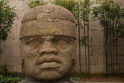 Xalapa, Veracruz/Mexico - View of Olmec Colossal Head statue.
