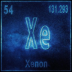 Xenon chemical element, Sign with atomic number and atomic weight, Periodic Table Element