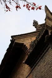 Xi 'an Daxing Good temple, red persimmon and ancient buildings. It is a famous tourist attraction.