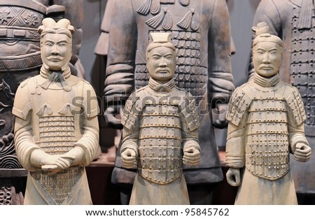 XIAN - APRIL 6: famous Chinese terracotta army figures are exhibited on April 6, 2011 in Xian, China. The figures date back to 210 BC and belong to China's most important discoveries.